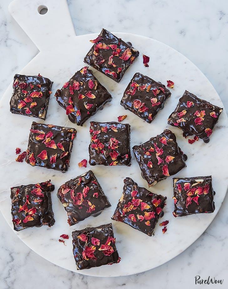 No Bake  Gluten Free Rose Petal Brownies vegan dessert recipe