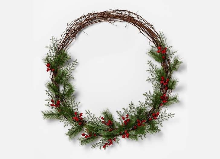 Red Berry Pine Needle Wreath