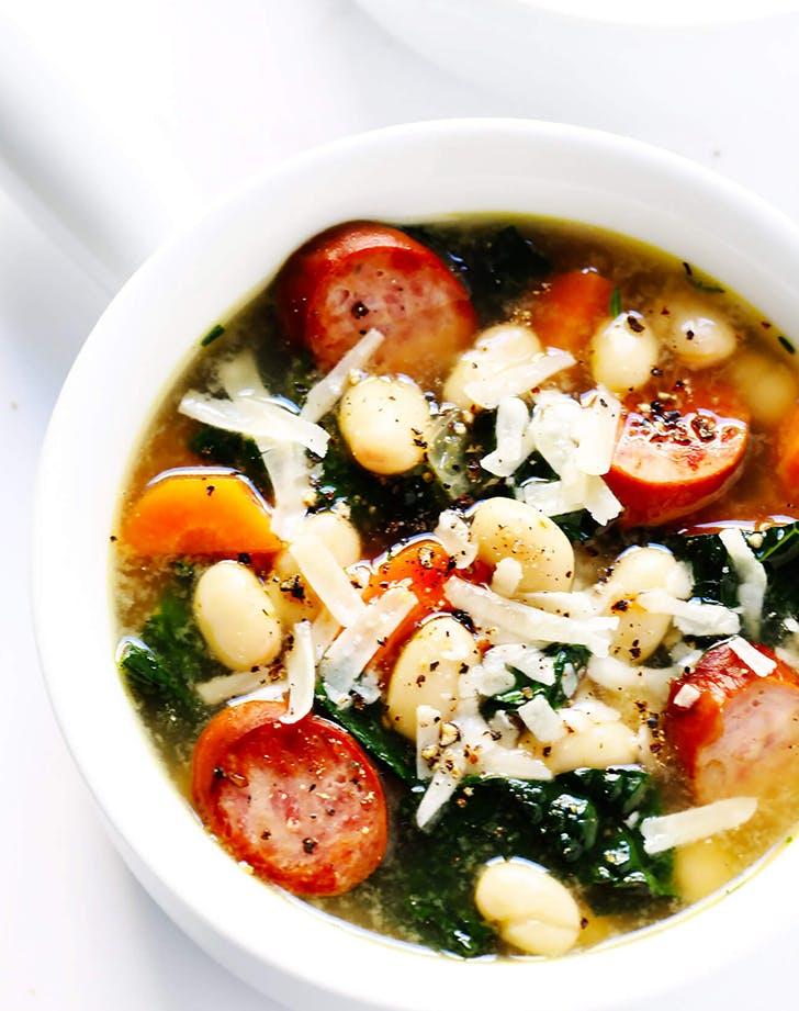 Tuscan White Bean  Sausage  and Kale Soup recipe