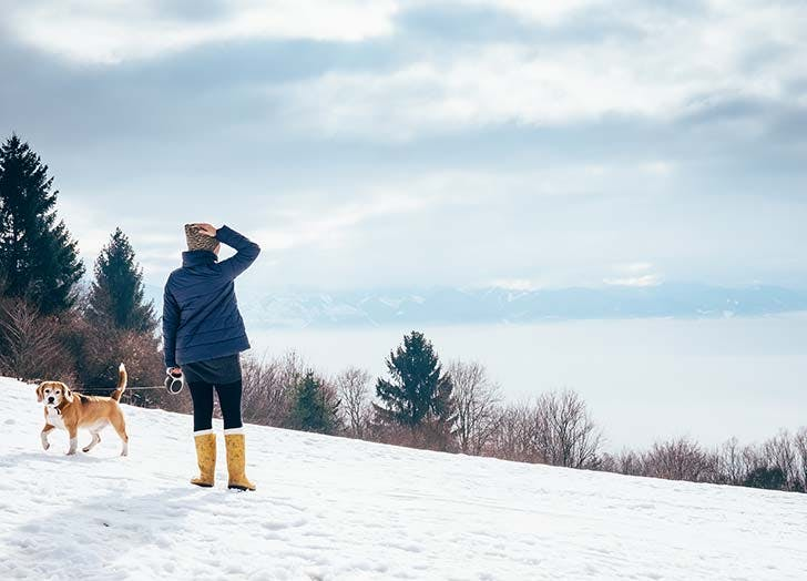 Woman taking winter walk with her dog