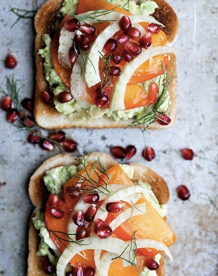 avocado toast with persimmon pomegranate and fennel recipe