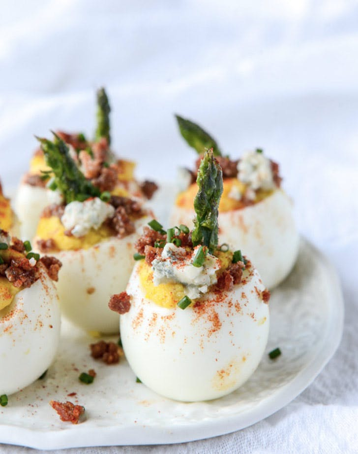 bacon blue deviled eggs christmas appetizers