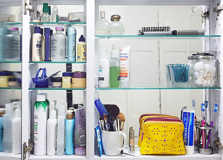 bathroom cabinet with products