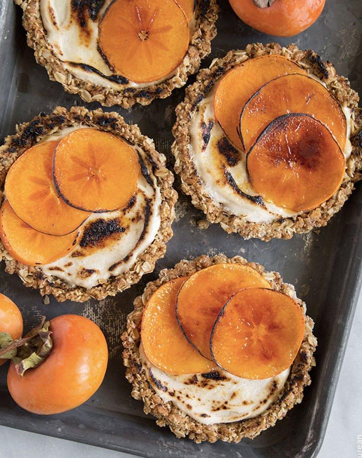 bruleed persimmon tarts with maple cinnamon cream cheese recipe