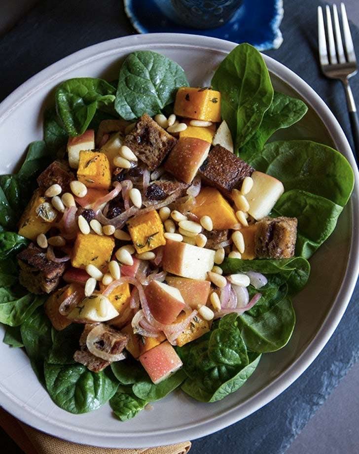 butternut squash apple currant Panzanella salad