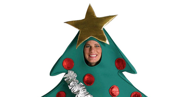 John carlson is dressed as a christmas treerussian machine never