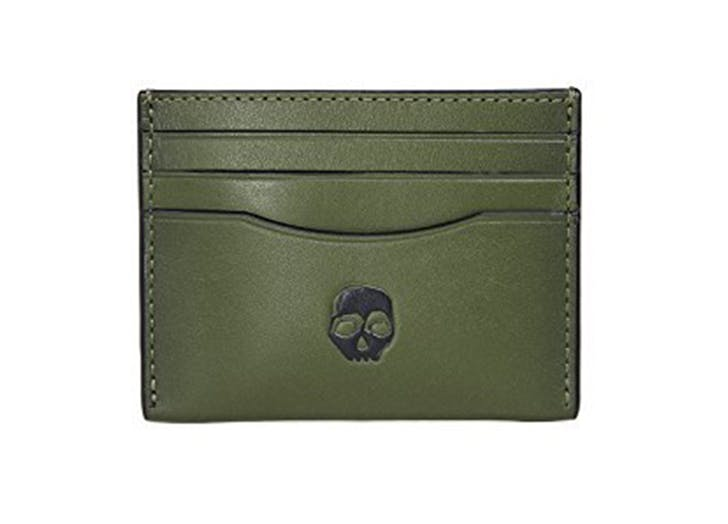 coach green embossed leather card case