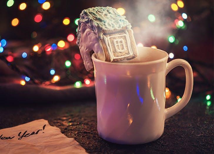 gingerbread house on side of mug