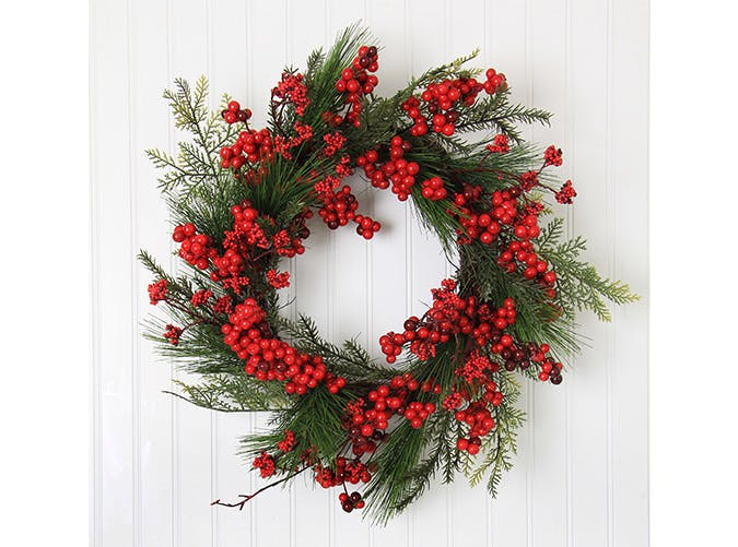holiday decorations berries evergreen wreath