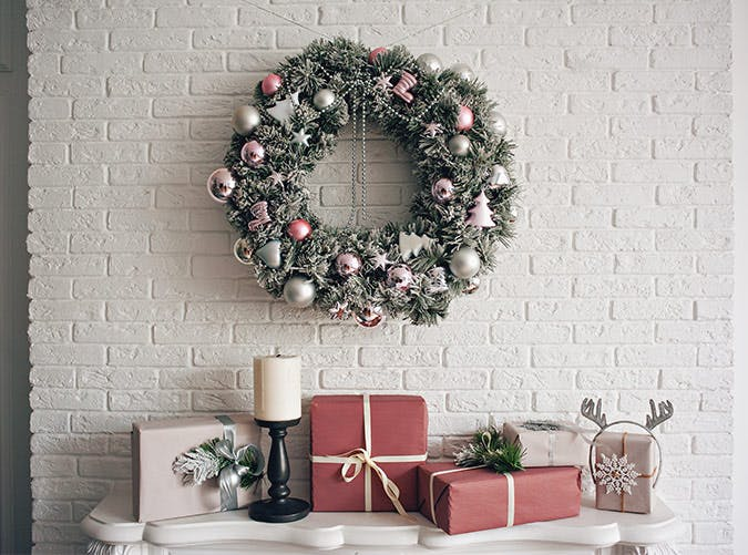 holiday decorations blush pink