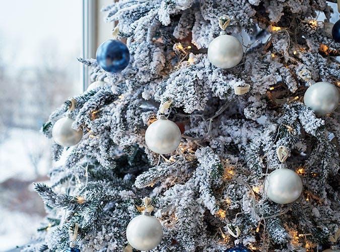 holiday decorations flocked tree