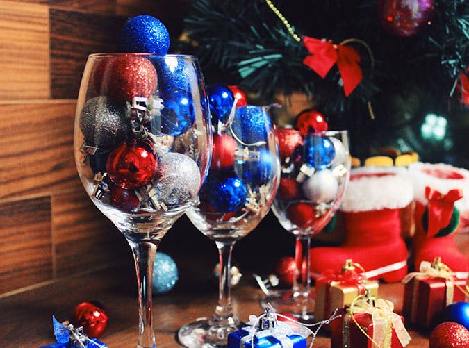 holiday decorations ornament filled wine glasses