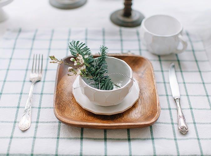 holiday decorations pine dish garnish