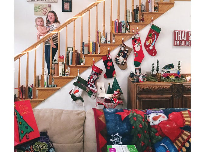 holiday decorations staircase stockings