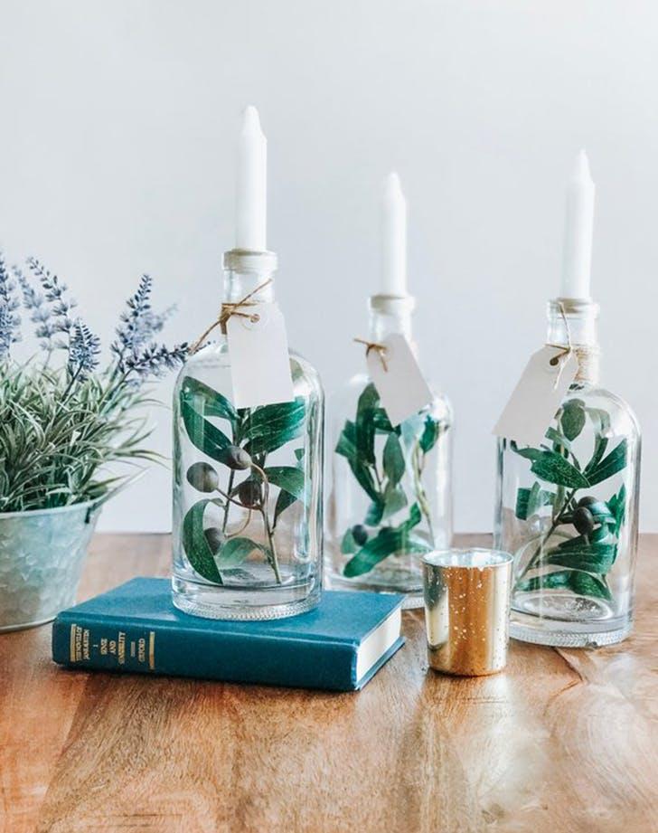 holiday decor bottle candle holder