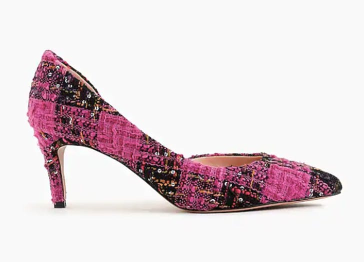 jcrew pink tweed heels