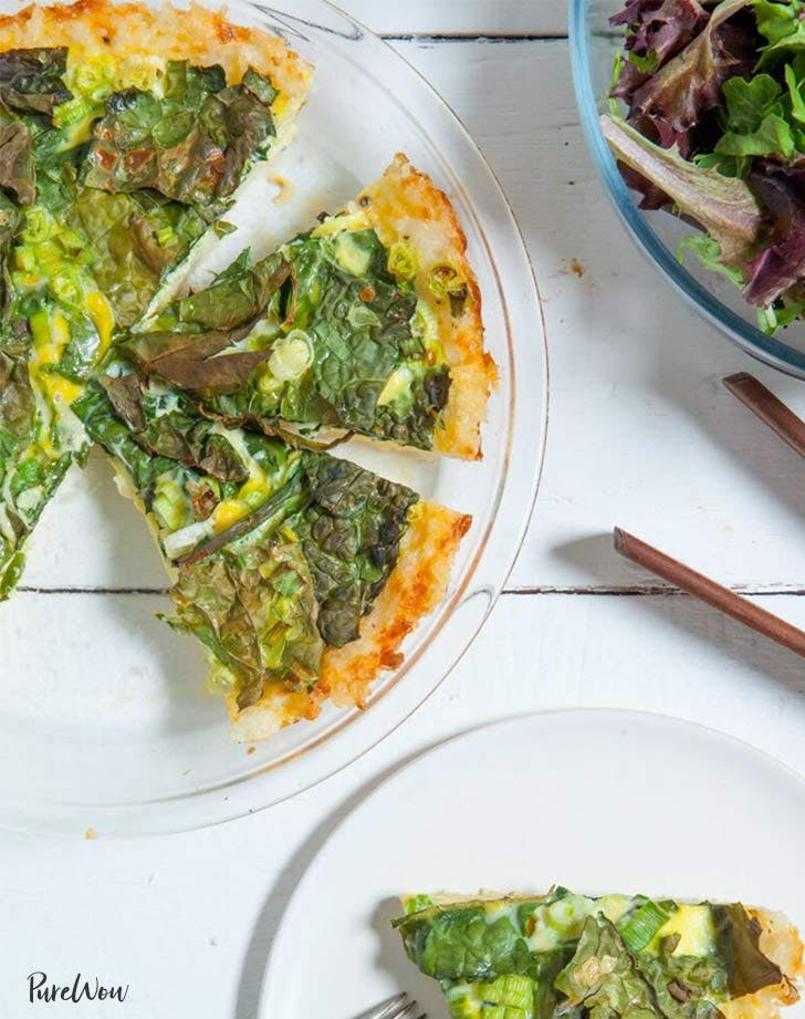 kale quiche cheddar rice crust holiday breakfast