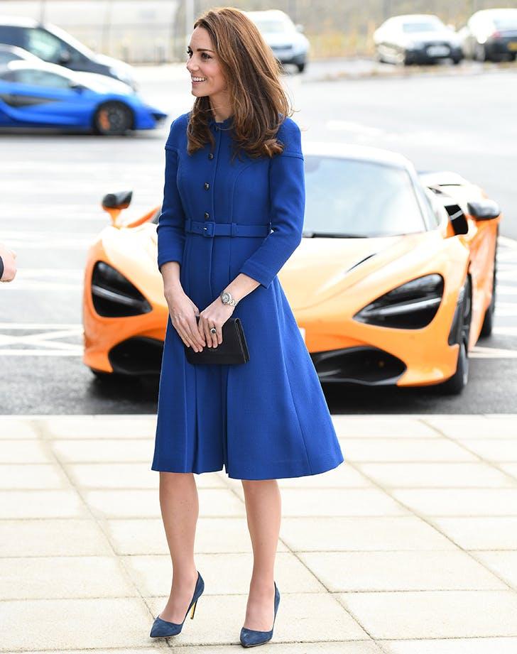 kate middleton wearing a blue coat dress