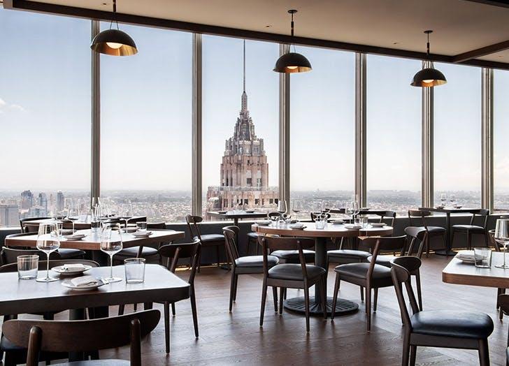 manhattan skyline window view restaurant
