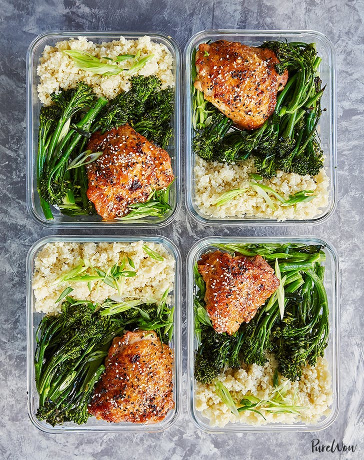 meal prep honey sesame chicken with broccolini recipe hero