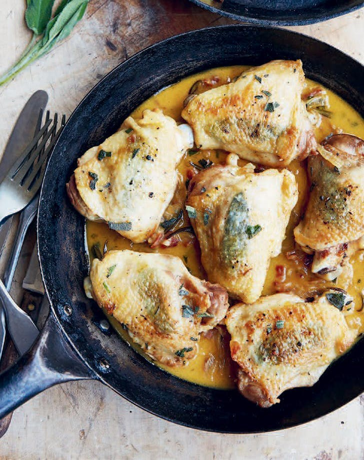 one pan creamy chicken Fricassee with sage recipe