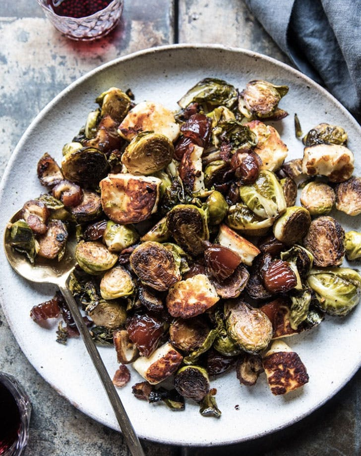 pan roasted brussels sprouts with bacon dates and halloumi recipe