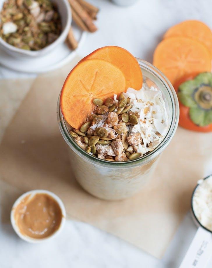 persimmon pepita steusel overnight oats recipe