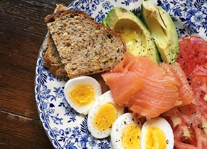 plate with salmon avocado and eggs