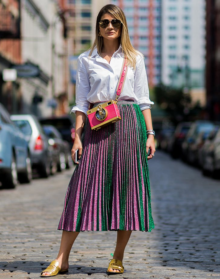 pleated skirt and white shirt
