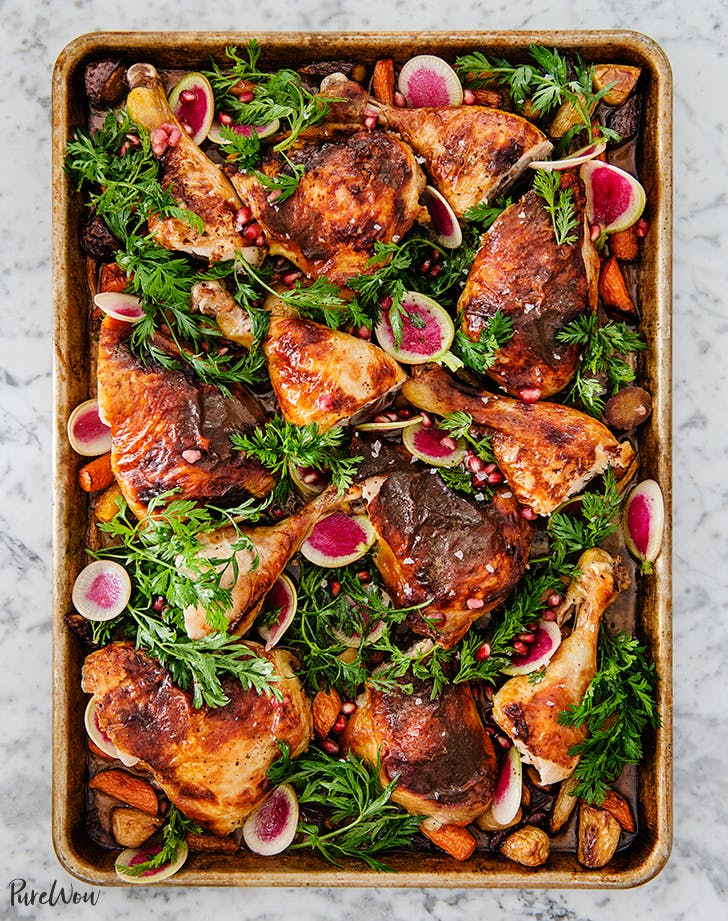 Pomegranate-Sumac Chicken with Roasted Carrots