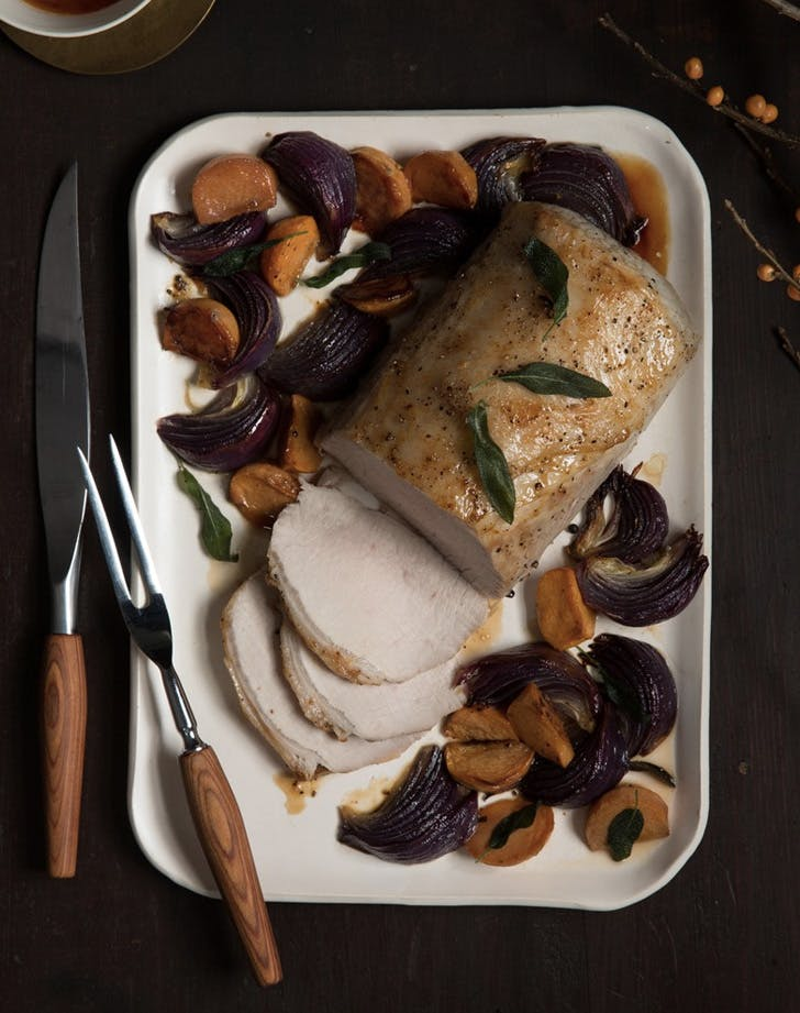 roast pork loin with caramelized persimmons and onions recipe