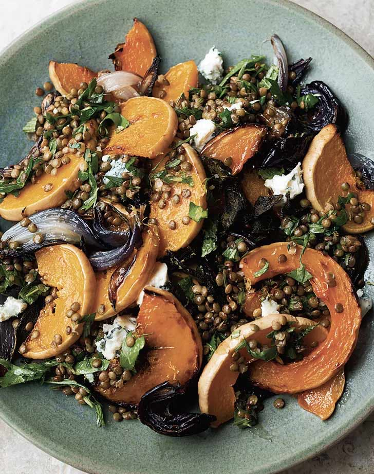 roasted butternut squash with lentils and gorgonzola