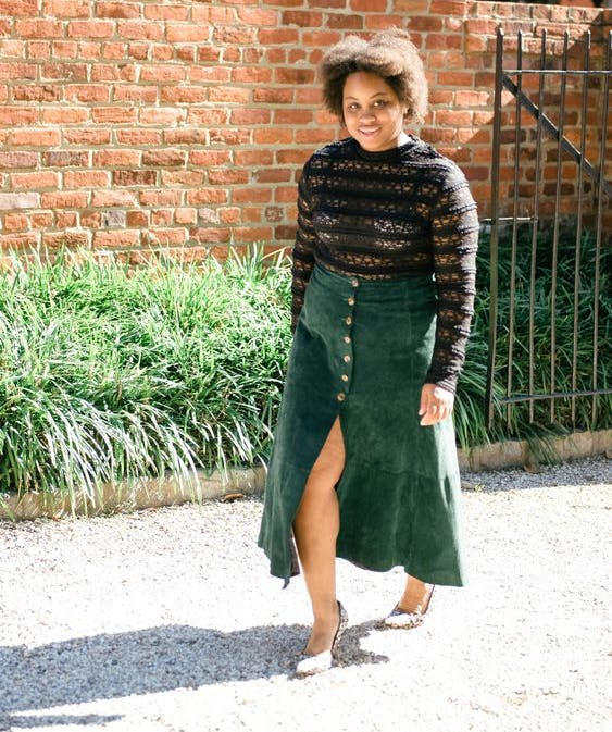 shanna battle wearing a lace top and corduroy skirt1