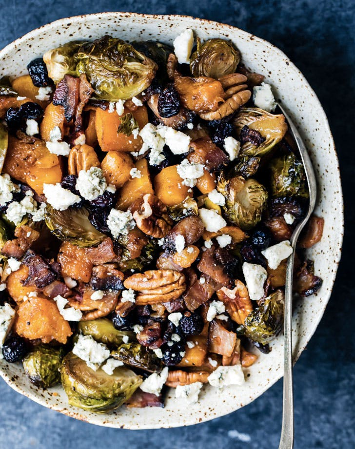 spicy maple roasted butternut squash and brussels sprouts with crispy bacon recipe
