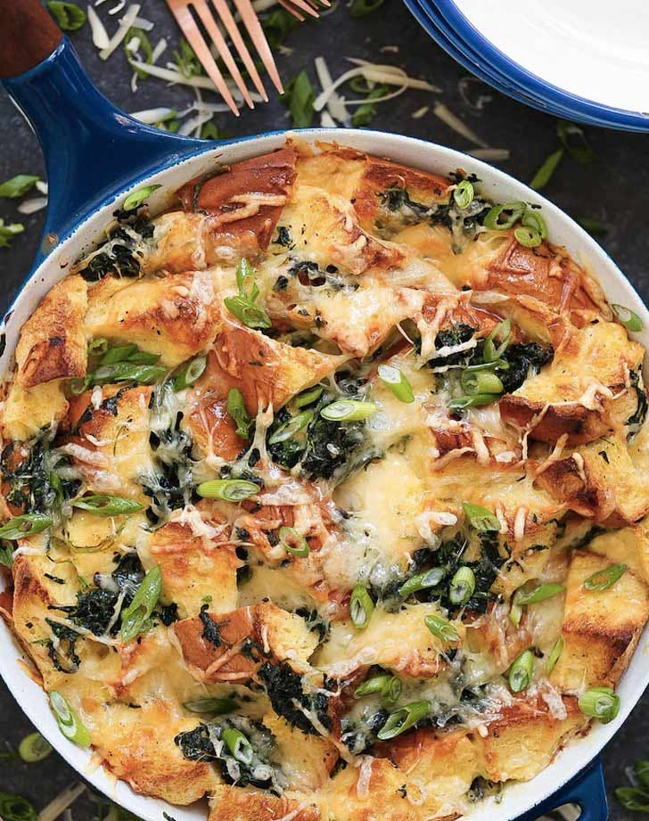 spinach and cheese strata holiday breakfast