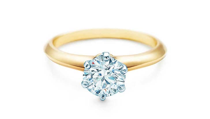 the tiffany setting 18k yellow gold engagement ring