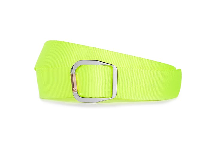 tibi neon yellow green garabiner belt