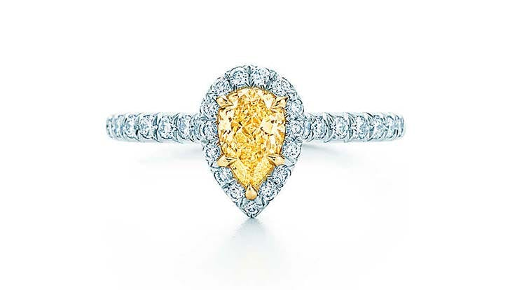 tiffany soleste pear shape yellow diamond engagement ring