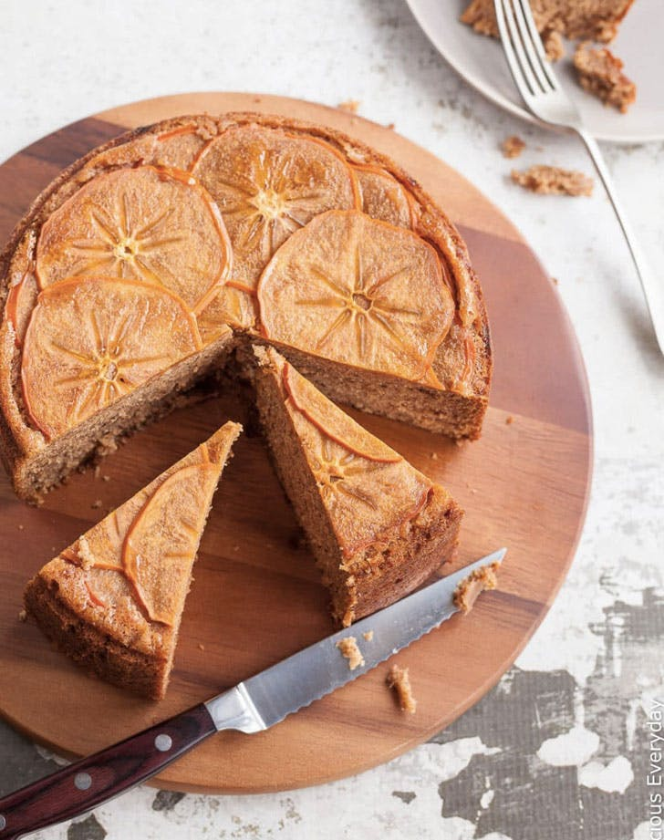 upside down persimmon cake with maple syrup and walnuts recipe