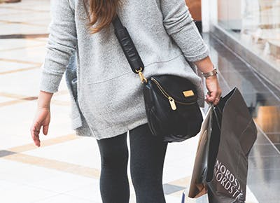 woman shopping black friday nordstrom bag cat