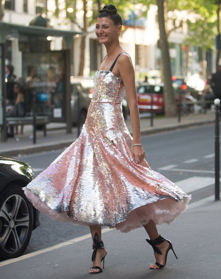 woman wearing a pink sequin dress