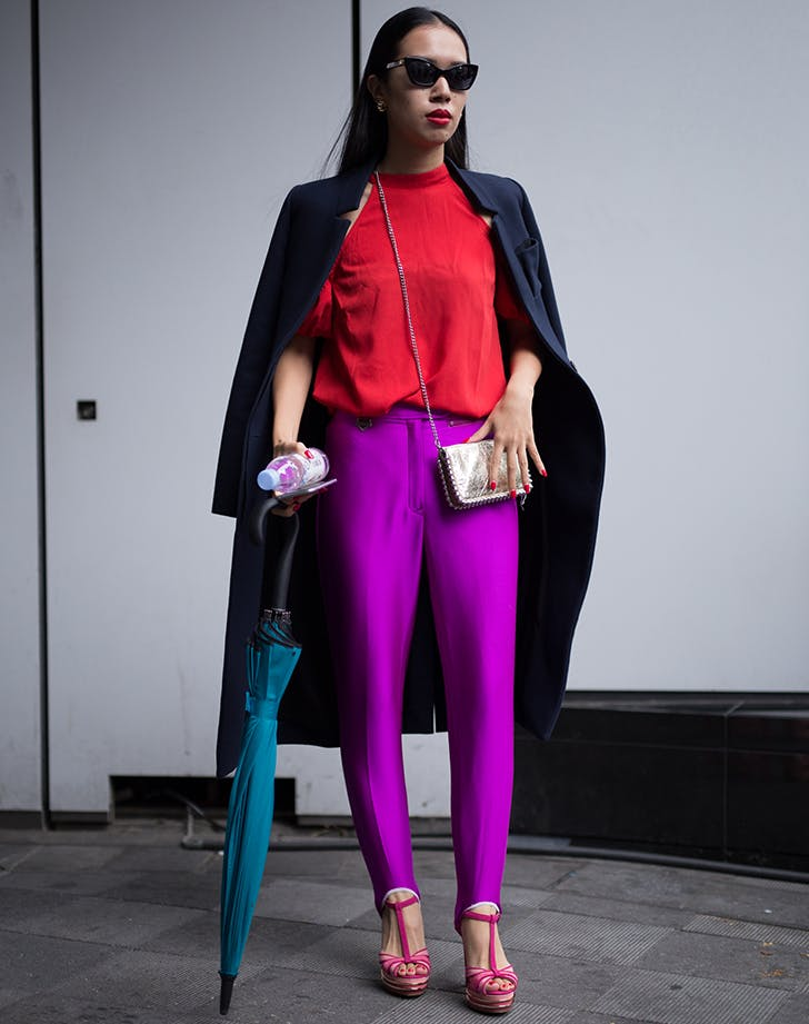 woman wearing red and violet purple