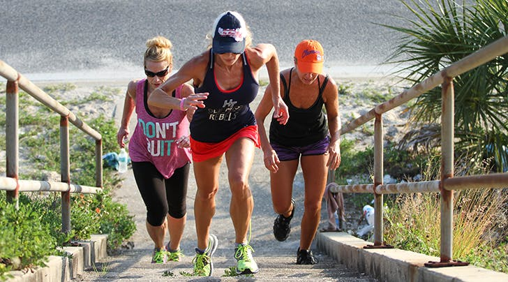 women in a running group