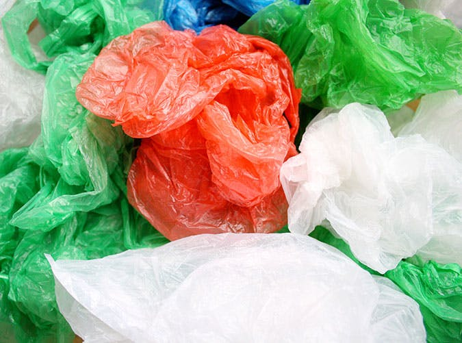 A pile of crumpled plastic bags