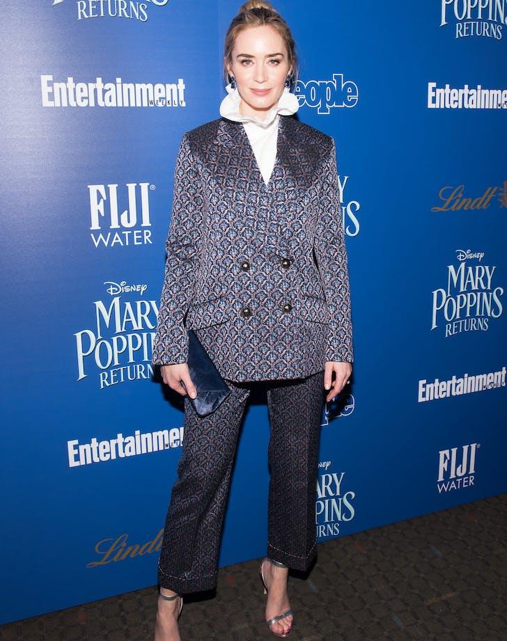 Emily Blunt in brocade suit