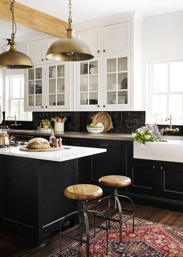 Joanna Gaines black kitchen