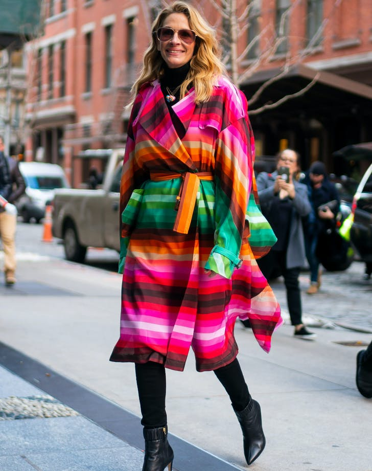 Julia Roberts in Rainbow Valentino coat
