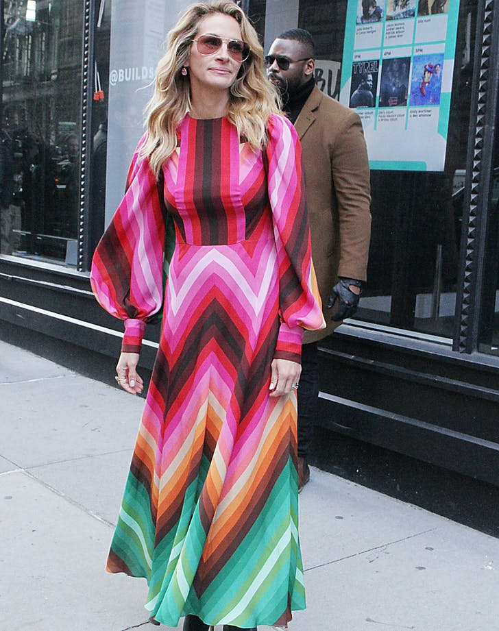 Julia Roberts in Rainbow Valentino dress