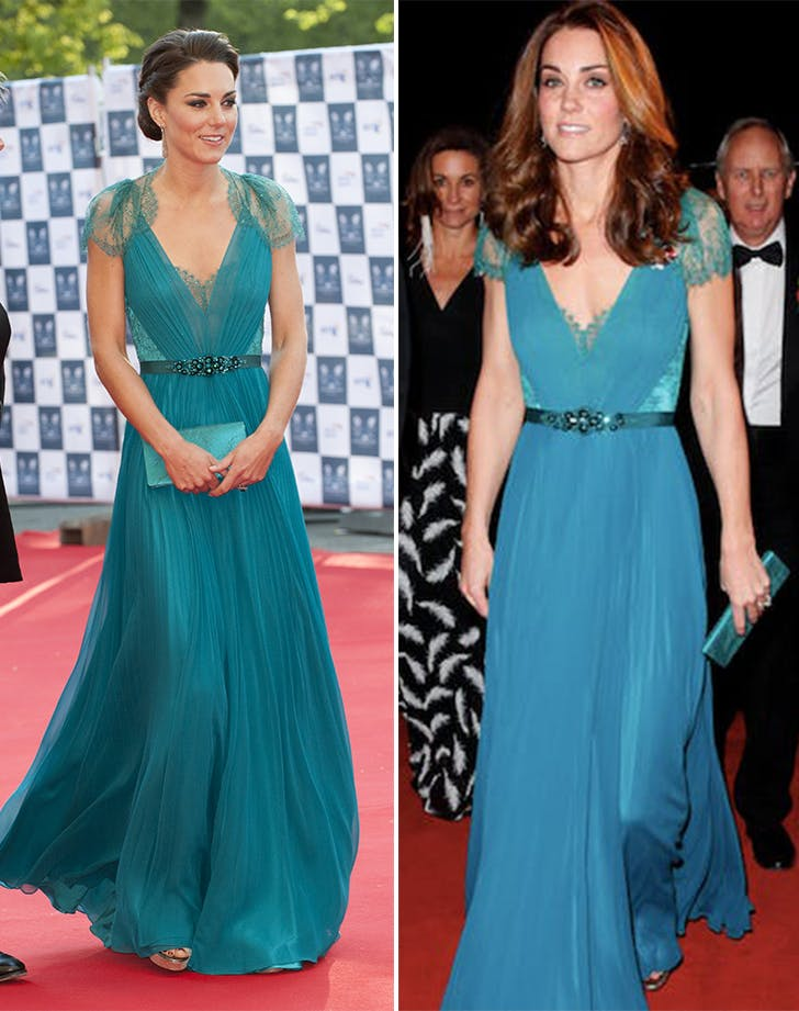 Kate Middleton Jenny Packham dress side by side