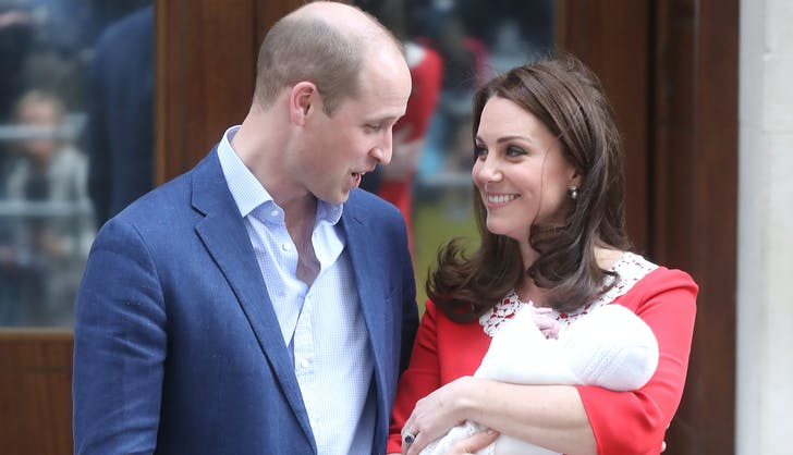 Kate Middleton and Prince William introducing Prince Louis